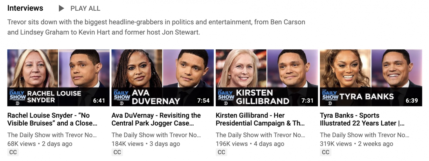 Daily Show Interview Clips on YouTube