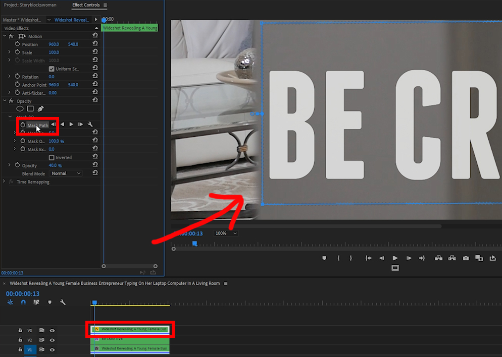 Adjust Mask Feather in Adobe Premiere Pro