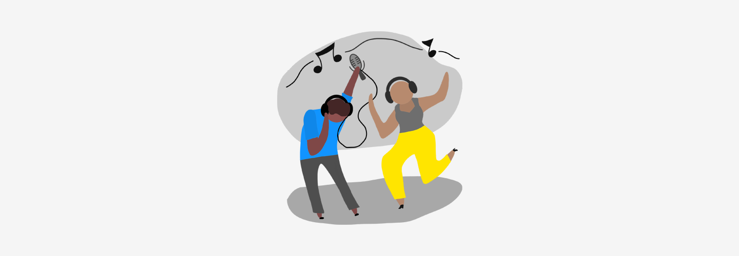Illustrated podcast host and listener dancing