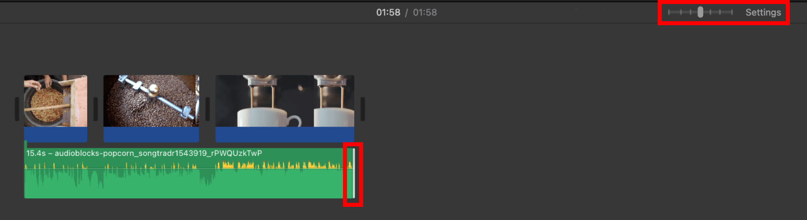 Zoom out in iMovie timeline to trim audio